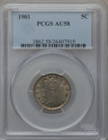 Liberty Nickels: , 1901 5C AU58 PCGS. PCGS Population (54/816). NGC Census: (8/687).Mintage: 26,480,212. Numismedia Wsl. Price for problem fr...
