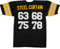 Football Collectibles:Uniforms, Pittsburgh Steelers Steel Curtain Signed Jersey. ...