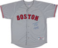 Baseball Collectibles:Uniforms, 2004 World Series 1st and Last Pitchers Signed Boston Red Sox Jersey - Wakefield and Foulke....