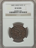Large Cents: , 1840 1C Large Date XF45 NGC. NGC Census: (7/177). PCGS Population(12/89). Mintage: 2,462,700. Numismedia Wsl. Price for pr...
