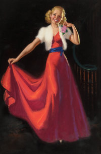 K.O. (KNUTE) MUNSON (American, 20th Century) Pin-Up in a Red Dress Pastel on board 23 x 15.25 in