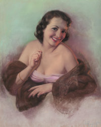 ZOE MOZERT (American, 1904-1993) Lady with Fur Shawl Pastel on board 28 x 22 in. (image) Signe