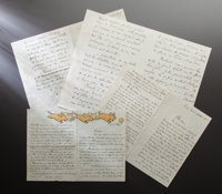 NINETEEN HANDWRITTEN LETTERS FROM FRENCH OFFICIAL IN THE MINISTRY OF FINANCE, AUTHOR OF RENOIR ET SES AMIS<