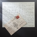 Other:European, A POSTCARD WITH SMALL FLOWER STILL LIFE DRAWING AND A LETTER FROMFRENCH PAINTER, GEORGES D'ESPAGNAT TO RENOIR. THE RENOIR... (Total:2 Items)