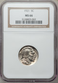 Buffalo Nickels, 1921 5C MS66 NGC....