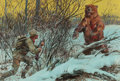 Mainstream Illustration, WALTER MARTIN BAUMHOFER (American, 1904-1987). The Bear and theHunter. Gouache and watercolor on board. 23 x 34 in.. Si...