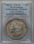 Morgan Dollars, 1886-O $1 Vam-1A, Clashed E -- Surface Damage -- PCGS Genuine. XF Details. Top-100. PCGS Population (12...