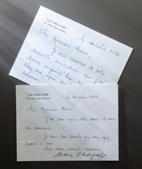 TWO NOTES FROM MARC CHAGALL TO PAUL RENOIR (SON OF COCO AND GRANDSON OF PIERRE-AUGUSTE RENOIR)  THE RENOIR COLL