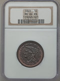 Large Cents, 1845 1C MS64 Red and Brown NGC. N-4, R.1....