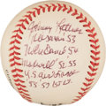 Autographs:Baseballs, Johnny Lattner Signed Baseball With Lengthy Inscription. ...