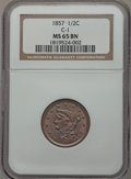 Half Cents, 1857 1/2 C MS65 Brown NGC. C-1, B-1, R.2....