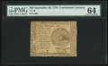 Colonial Notes:Continental Congress Issues, Continental Currency September 26, 1778 $60 PMG Choice Uncirculated 64.. ...