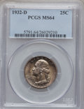 Washington Quarters, 1932-D 25C MS64 PCGS....