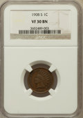 Indian Cents: , 1908-S 1C VF30 NGC. NGC Census: (148/1105). PCGS Population(247/1422). Mintage: 1,115,000. Numismedia Wsl. Price for probl...