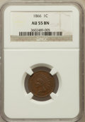 Indian Cents: , 1866 1C AU55 NGC. NGC Census: (39/310). PCGS Population (74/216).Mintage: 9,826,500. Numismedia Wsl. Price for problem fre...