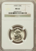 Washington Quarters: , 1935-S 25C MS62 NGC. NGC Census: (98/932). PCGS Population(84/1686). Mintage: 5,660,000. Numismedia Wsl. Price for problem...