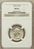 Washington Quarters: , 1932-D 25C AU55 NGC. NGC Census: (195/1436). PCGS Population(394/2384). Mintage: 436,800. Numismedia Wsl. Price for proble...