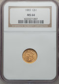 Gold Dollars, 1883 G$1 MS64 NGC....