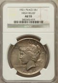 Peace Dollars, 1921 $1 AU55 NGC. High Relief. NGC Census: (412/10744). PCGSPopulation (659/12226). Mintage: 1,006,473. Numismedia Wsl...