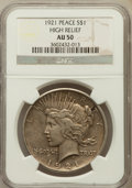 Peace Dollars, 1921 $1 AU50 NGC. High Relief. NGC Census: (184/11354). PCGSPopulation (326/13164). Mintage: 1,006,473. Numismedia Wsl. Pr...