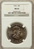 Franklin Half Dollars: , 1963 50C MS65 NGC. NGC Census: (4738/62). PCGS Population(2291/26). Mintage: 22,100,000. Numismedia Wsl. Price forproblem...