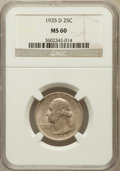 Washington Quarters: , 1935-D 25C MS60 NGC. NGC Census: (1/939). PCGS Population (3/1585).Mintage: 5,780,000. Numismedia Wsl. Price for problem f...