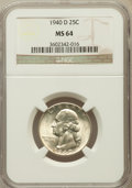Washington Quarters: , 1940-D 25C MS64 NGC. NGC Census: (298/675). PCGS Population(665/1074). Mintage: 2,797,600. Numismedia Wsl. Price for probl...