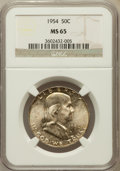 Franklin Half Dollars: , 1954 50C MS65 NGC. NGC Census: (1231/65). PCGS Population (629/36).Mintage: 13,100,000. Numismedia Wsl. Price for problem ...
