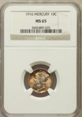 Mercury Dimes: , 1916 10C MS65 NGC. NGC Census: (72/54). PCGS Population (59/24).Mintage: 22,180,080. Numismedia Wsl. Price for problem fre...