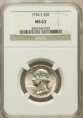 Washington Quarters: , 1936-S 25C MS63 NGC. NGC Census: (135/1041). PCGS Population(199/2009). Mintage: 3,828,000. Numismedia Wsl. Price for prob...