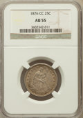 Seated Quarters: , 1876-CC 25C AU55 NGC. NGC Census: (17/190). PCGS Population(24/182). Mintage: 4,944,000. Numismedia Wsl. Price for problem...