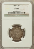Seated Quarters: , 1844 25C AU50 NGC. NGC Census: (2/66). PCGS Population (4/49).Mintage: 421,200. Numismedia Wsl. Price for problem free NGC...