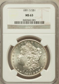 Morgan Dollars: , 1891-S $1 MS63 NGC. NGC Census: (1727/1543). PCGS Population(2553/2447). Mintage: 5,296,000. Numismedia Wsl. Price for pro...