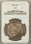 Morgan Dollars: , 1894-S $1 Fine 12 NGC. NGC Census: (32/2561). PCGS Population(34/4209). Mintage: 1,260,000. Numismedia Wsl. Price for prob...