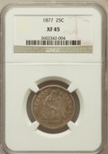 Seated Quarters: , 1877 25C XF45 NGC. NGC Census: (10/334). PCGS Population (17/358).Mintage: 10,911,710. Numismedia Wsl. Price for problem f...