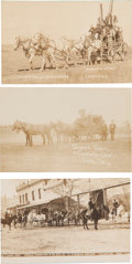 Photography:Official Photos, Indians: Three Real Photo Postcards of Indians and Stagecoaches....(Total: 3 Items)