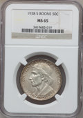 Commemorative Silver: , 1938-S 50C Boone MS65 NGC. NGC Census: (159/140). PCGS Population(213/173). Mintage: 2,100. Numismedia Wsl. Price for prob...