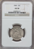 Seated Quarters: , 1860 25C AU58 NGC. NGC Census: (24/44). PCGS Population (11/60).Mintage: 805,400. Numismedia Wsl. Price for problem free N...