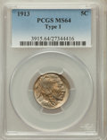 Buffalo Nickels: , 1913 5C Type One MS64 PCGS. PCGS Population (3589/5474). NGCCensus: (2073/3876). Mintage: 30,993,520. Numismedia Wsl. Pric...