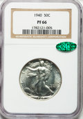 Proof Walking Liberty Half Dollars: , 1940 50C PR66 NGC. CAC. NGC Census: (767/391). PCGS Population(803/326). Mintage: 11,279. Numismedia Wsl. Price for proble...