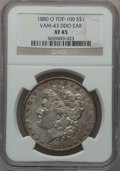Morgan Dollars, 1880-O $1 Vam-43, Doubled Die Obverse Ear XF45 NGC. Top-100. NGCCensus: (0/0). PCGS Population (8/54).. From The Parcfe...