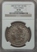 Morgan Dollars, 1880 8/7 $1 Vam-6, Spikes XF40 NGC. Top-100. PCGS Population(7/112).. From The Parcfeld Collection....