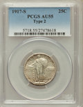 Standing Liberty Quarters: , 1917-S 25C Type Two AU55 PCGS. PCGS Population (67/523). NGCCensus: (27/426). Mintage: 5,552,000. Numismedia Wsl. Price fo...
