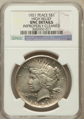Peace Dollars, 1921 $1 -- Improperly Cleaned -- NGC Details. UNC. High Relief. NGCCensus: (39/9788). PCGS Population (93/10962). Mintage:...