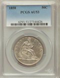 Seated Half Dollars: , 1858 50C AU53 PCGS. PCGS Population (57/257). NGC Census: (39/313).Mintage: 4,226,000. Numismedia Wsl. Price for problem f...