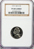 Proof Jefferson Nickels, 1971 5C No S PR68 Cameo NGC....