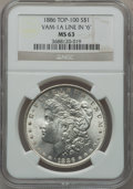 """Morgan Dollars, 1886 $1 Vam-1A, Line In """"6"""" MS63 NGC. Top-100. PCGS Population(40/98).. From The Parcfeld Collection..."""