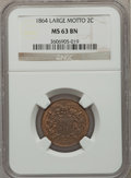 Two Cent Pieces: , 1864 2C Large Motto MS63 Brown NGC. NGC Census: (379/722). PCGSPopulation (328/332). Mintage: 19,847,500. Numismedia Wsl. ...