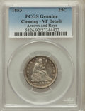 Seated Quarters, 1853 25C Arrows and Rays -- Cleaning -- Genuine PCGS. VF Details.NGC Census: (16/990). PCGS Population (22/1153). Mintage:...