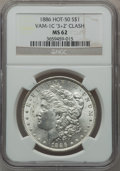 """Morgan Dollars, 1886 $1 Vam-1C, """"3+2"""" Clash MS62 NGC. Hot-50. PCGS Population(14/175).. From The Parcfeld Collection..."""